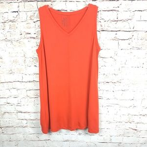 """FLAX Orange Red """"In Motion"""" Tunic Top Sz Large"""